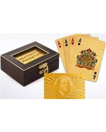 Golden Playing Cards in Wooden Box